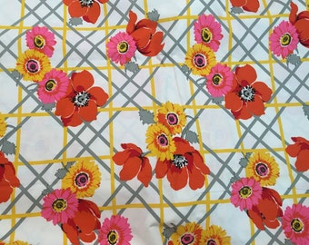 Cheerful Floral Barkcloth Home Decor Fabric By The Yard