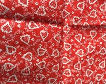 Vintage Red Heart Valentine Cotton Fabric Yardage Destash