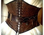 Pirate Wench Faux Tooled Leather Underbust waist Corset - Pre-made