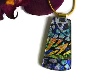 Dichroic Pendant, Necklace, Fused Glass