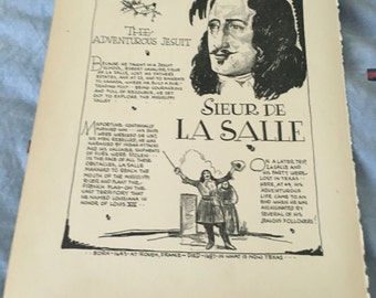 Book page print . Sieur De Lasalle the Adventerous Jesuit. 7 x11 Great for framing for the collector. History.