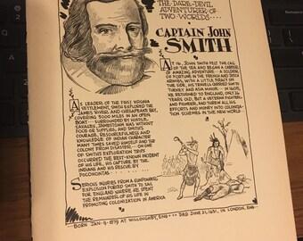 Book page print 7x11 approx. History Pilgrims Captain John Smith Teachers historians art.