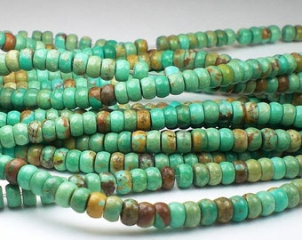 4mm Natural Turquoise Beads Rondelle Beads 8 or 16 Inch Strand