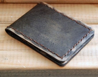 Shirt Pocket, Leather Wallet, Mens Wallet, Handmade Wallet, Black Wallet, Bi-fold, Wallet, The Rustic Black - Mini Wallet