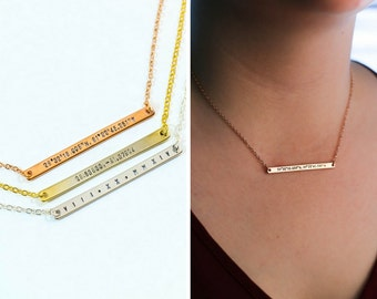 Long Coordinate Bar Necklace • Personalized Coordinates Necklace • Bridesmaid Gift • Silver ...