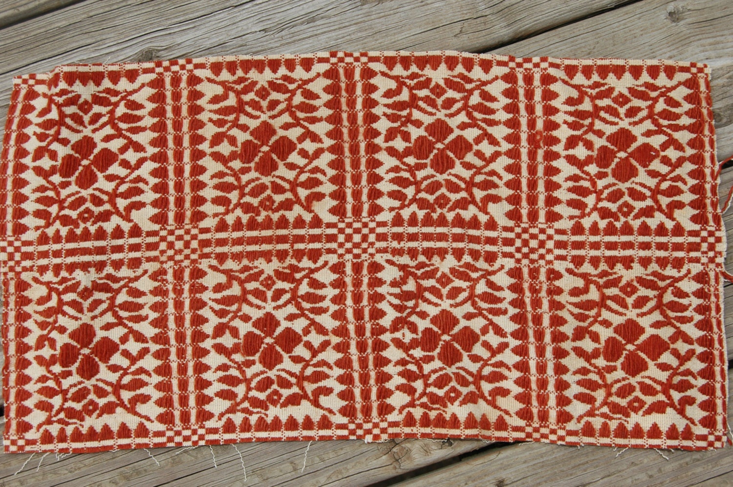 Vintage Rust Oatmeal Antique Woven Coverlet 16 X 23 Piece Fall