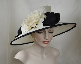 Kentucky Derby Hat, Ladies Straw Hat, Wide Brim Hat, Couture Hat, Formal Hat