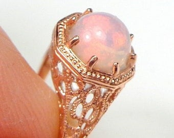 Sz 6.75, Solid 10k Rose Gold Welo Opal Ring, Natural Opal, Ethiopian Opal Ring, Pink, Yellow, Green, Lavender Color Play Opal Ring