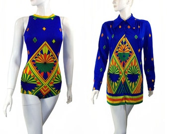 Vintage Bright Psychedelic Bathing Suit with Matching Blouse Cover Up  Blue Swim Suit Never Worn