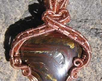 A Tiger's Tale///Red, Golden,Tiger Eye, With Tiger Iron, And Copper Wire Wrap Pendant, One of a Kind, Handmade, Art