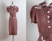 Vintage 40s Dress | vintage 1940s dress | polka dot nautical xs/s