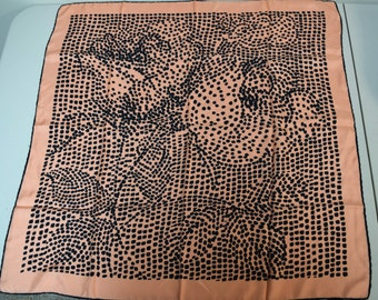 """VINTAGE Made in Japan Peach Black Floral Rose Dotted 30"""" Square Silk Scarf EUC"""