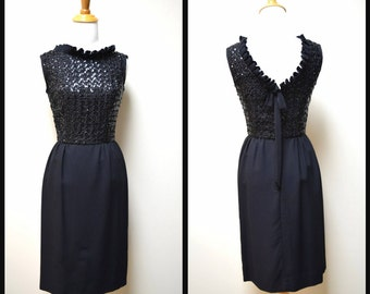 VTG 50s/60s A La Mode Black Fitted Dress w Ruffle Neck VBack Sequin Top Size XS