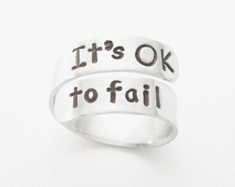 It's OK to fail ring - Motivational ring - Inspirational ring - Graduation gift - Message ring message gift