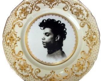 "Prince Portrait Plate - Altered Vintage Plate 10.5"""