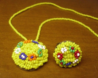 Vintage 1960's/1970's  Yellow Beaded Necklace & Ring Set