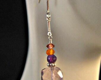 Birthstone earrings,amethyst earrings,gemstone earrings,dangle earrings,drop earrings,multi gemstone earrings,sterling silver earrings,gems