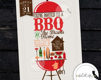 BBQ Party Invitation, Picnic Invite, Cookout, Summer, Family Reunion, Company Picnic, DIY, Printed or Printable Invitations, Free Shipping