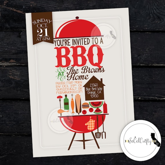 bbq party invitation picnic invite cookout summer family
