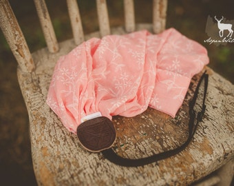Coral Embroidered Floral Camera Strap