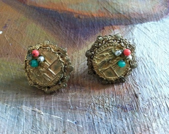 Miriam Haskell signed earrings, screw back and clip earrings, figural theme, filigree backing