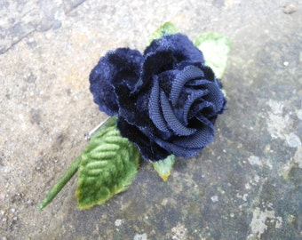 Vintage velvet rose pin, blue