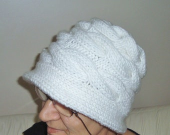 Womens winter hats with brim bucket hat in white hat women hand knit hat