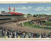 Kentucky Derby Horse Racing Churchill Downs Louisville Kentucky linen postcard