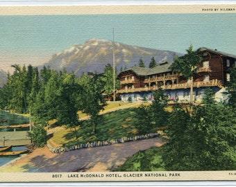 Lake McDonald Hotel Glacier National Park Montana 1941 linen postcard