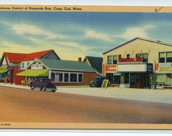 Buzzards Bay Movie Theater Cape Cod Massachusetts linen postcard