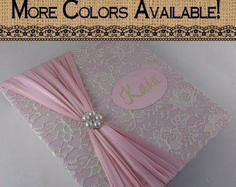 Photo Album Girl Photo Album Personalized Photo Album girl baby photo album custom wedding photo album 4x6 5x7 8x10 picture pink ivory lace