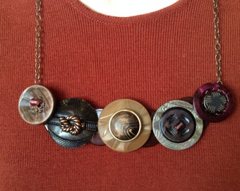 Tie the Knot button necklace