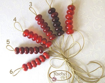 Lampwork Glass Donuts Beads, Red Glass Round Spacers Beads - Rachelcartglass