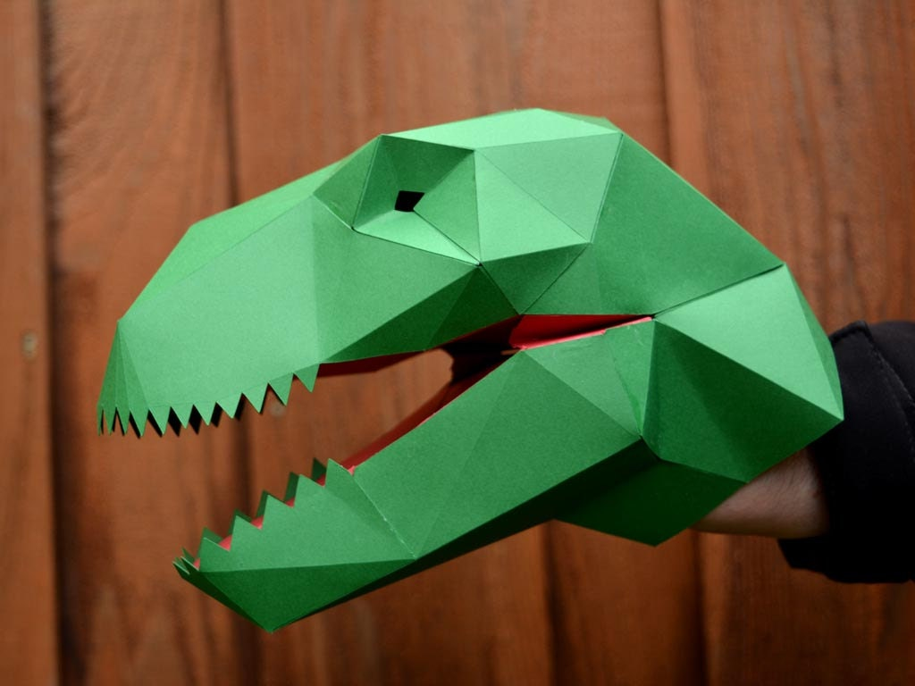 Dinosaur arts and crafts - Make Your Own T Rex Hand Puppet With Just Paper And Glue Dinosaur Puppet Kids Craft Project Dinosaur Party