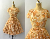 1960s Vintage Dress - 60s Autumn Floral Dress -  Autumn Mums