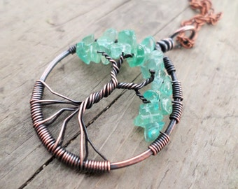 Apatite Tree of Life Pendant Choose from Copper, Oxidized Copper, Brass or Sterling Gift Boxed