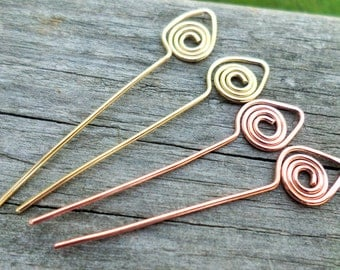 Swan Head Pins Choose from Copper, Oxidized Copper, NuGold or Sterling Silver  25pcs 18g