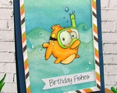 Happy Birthday Fishes Snorkeling Fish Handmade Card