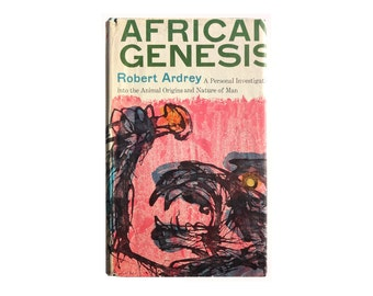 """Joseph Low book design, 1966. """"African Genesis: A Personal Investigation Into the Animal Origins and Nature of Man"""" by Robert Ardrey"""