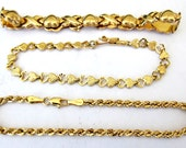 3 Solid 14K Gold Bracelets-Heart,Rope,Kisses,11.7 Grams
