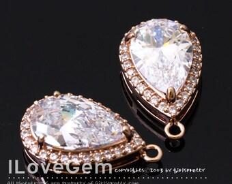 NP-1710 Rose Gold Plated, Cubic zirconia, Drop Pendant, 11X18.5mm, 2pcs / Cubic pendant, Wedding jewelry supplies