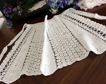 Crocheted Half Apron or Pinny - Hand Made, Tie Waist 13550