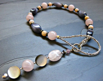 Rose Quartz, Cat's Eye, Hematite & Pink Opal Gratitude Meditation Beads