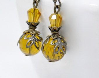 Dark Yellow Crystal Earrings, Honey Yellow Glass Bead Earrings, Antique Brass Filigree Earrings, Glass Bead Earrings, Long Dangle Earrings