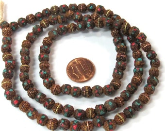 108 beads - 7 mm rudraksha mala beads with turquoise brass coral inlay - mala making supply - ML077A