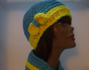 Chunky Blue and Yellow Crocheted Cowl and Cloche With Bow Winter Accessories Gift for Women Under 40 dollars