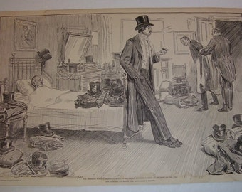 Vintage Charles Dana Gibson 1903 Print, Mrs. Steele Poole's Housewarming and Mr. Meekers Thoughts, Gibson Prints, 100 Years or Older, Humor