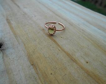 Oval Peridot Cabochon Adjustable Ring