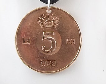 1953 Sweden Coin Necklace, 5 Ore, Mens Necklace, Womens Necklace, Coin Pendant, Leather Cord