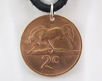 1974 South Africa Coin Necklace, Wildebeest, Mens Necklace, Womens Necklace, Coin Pendant, Leather Cord, Vintage